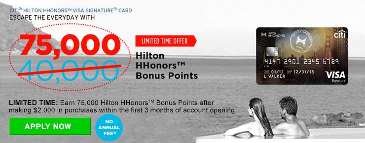 申请希尔顿信用卡,开卡就送75,000点+银卡会员,最多可换15晚酒店!没年费!