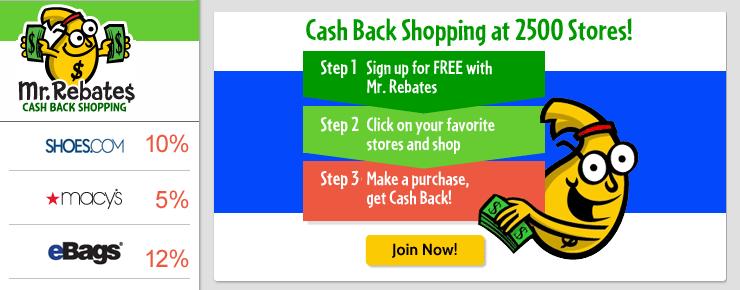 Shop at Mr. Rebates to get cashback!